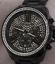NWT MICHAEL KORS Wren Black Ion Plated Crystal Glitz Dial 42mm Watch MK6419 $375