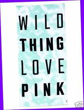 NWT Victoria's Secret WILD THINGS LOVE PINK Blanket Tie-Dye MINT BLUE Towel