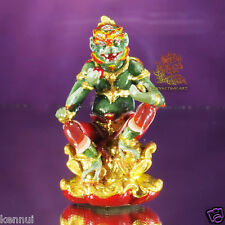 Thai Amulet SiHuHaTa 4 Ears 5 Eyes Mini Statue Brass Kruba Ariyachat Hand Paint