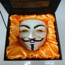 Luxury Gift Box + Resin V FOR VENDETTA Anonymous Guy Fawkes Halloween Party Mask