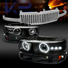 00-06 Tahoe Black LED Projector Headlights Bumper Lamps+Chrome Vertical Grille