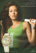 Publicité Advertising 2009  montre ROLEX OYSTER PERPETUAL DATE JUST ana ivanovic