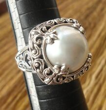 Solid Sterling Silver 925 Balinese Ring White Mabe Pearl Size 7-118L