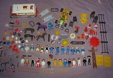 Vintage Playmobil Lot of Figures Animals Indians Indy Car Ambulance Police +