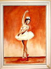 Original Signed 1952 Leon G. Milchunas Oil Painting RED SHOES Ballerina Dancer
