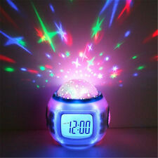 US Starry Night Projector LCD Alarm Clock With Calendar and Thermometer Music