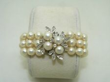 1960's Vintage 3 row Japanese cultured pearls and diamond bracelet