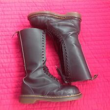 DOC MARTENS SIZE 6UK BLACK LEATHER BOOTS AIR WAIR SOLES, 20 EYELET STEEL TOE CAP