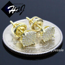 925 STERLING SILVER 6MM LAB DIAMOND ICED ROUND SCREW BACK GOLD STUD EARRING*GE66