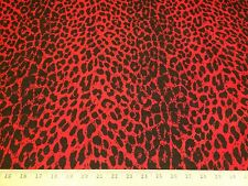 "Red/Black Leopard Animal Print 100% Dupioni Silk Fabric 44"" Wide  By The Yard"