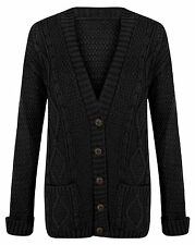 LADIES JACQUARD CHUNKY CABLE KNIT BOYFRIEND BUTTON CARDIGANS  PLUS SIZES 8 - 26