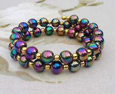 Chic Green Blue Purple Glass Bead & Gold Plated Ball Memory Wire Cuff Bracelet