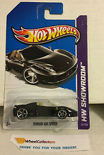 Ferrari 458 Spider #151 * BLACK w/ Tan Interior * 2013 Hot Wheels * J7
