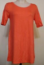 So Perfectly Soft Coral Pink Relaxed Short Elbow Sleeve Tunic Tee Top Pink M Jr