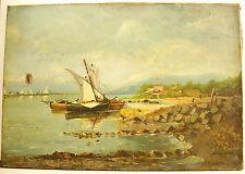 Bords de mer méditerranée Côte d'azur Italie Grèce bateaux vieux gréements XIX