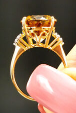 7.56ct Genuine Champagne Danburite & Diamonds 14k Solid Gold Ring Size 7