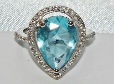 Plata Esterlina (925) 5.00ct Aqua Azul Topacio Anillo Cocktail de Cluster Grande Talla N