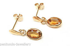9ct Gold Oval Citrine Drop Earrings Made in UK Gift Boxed