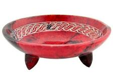 "5"" Red Soapstone Endless Knot Offering Altar Bowl, Censer!"