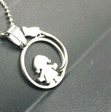 Girl Pattern Fashion Silver Color 316L Stainless Steel Titanium Pendant Necklace
