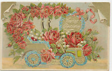C4611 1909 POSTCARD GREETING CONGRATULATIONS ROSE DECORATED AUTOMOBILE