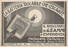 Z1654 Batteria Tascabile HELLESENS - Pubblicità d'epoca - 1930 Old advertising