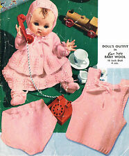 "Dolls clothes knitting pattern for 16"" Baby doll. (V Doll 102)"