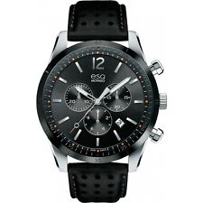 *BRAND NEW* ESQ Movado Men's Current Chronograph Black Leather Watch 07301473