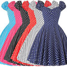 BLACK/RED+ +POLKA DOT 50s 60s VINTAGE STYLE PINUP SWING EVENING PARTY PROM DRESS