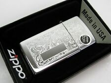 ZIPPO Slim High POLISH Chrome VENETIAN w/ Initial Panel Windproof Lighter! 1652