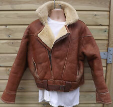 Vintage British Made Ginger Brown Sheepskin Leather Flying / Bomber Jacket - XL