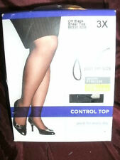 Hanes 4 Pair Lot Size 3X Just My Size JMS Pantyhose Control Sheer Toe Off Black