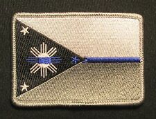 PHILIPPINES FLAG POLICE LEO THIN BLUE LINE TACTICAL IRON ON MORALE BADGE PATCH