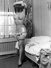1960s Nude busty pinup undressing in her bedroom 8 x 10 Photograph