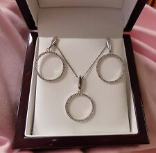 14k white gold circle of life diamond dangle earring and pendent with chain set