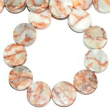 NG2117f Redline Marble 16mm Flat Round Coin Gemstone Beads 16""