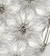 Chico's Signed Silver Tone Necklace Crystal Clear Facet Bead Flowers Bib NWOT