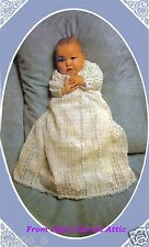 (5) 3 PLY KNITTING PATTERN TO MAKE HEIRLOOM CHRISTENING ROBE TO TREASURE