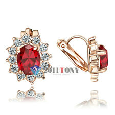 Unique Jewelry 18K Rose Gold Plated Use Red Crystal Clip-on Earrings