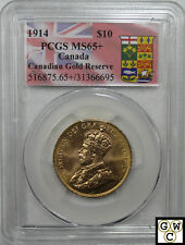 1914 Canadian Gold Reserve $10 Coin PCGS Certified MS-65+ Full Luster