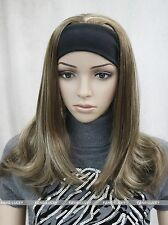 Light Brown Blonde Mixed women Daily 3/4 half wig with headband FTLG042