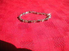 Oval Garnet & Rose Flower Link Sterling Silver Tennis Bracelet