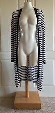 Chico's Black White Striped Long Open Cardigan Sweater Size 3