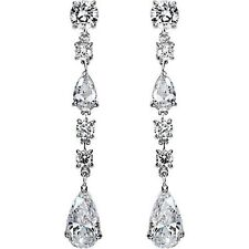 2.80 ct Pear & Round cut Diamond Chandelier Earrings F-G SI1, 14k White Gold