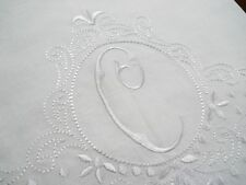 Large White Linen Guest Bathroom Hand Towel monogrammed C hemstitched whites