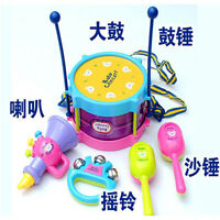 5pcs Mini Baby Kid Drum Band Sand hammer Hand Bell Musical Instruments Toy Gifts
