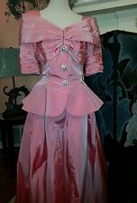 Vintage 1940s pink dress with rhinestones buttons