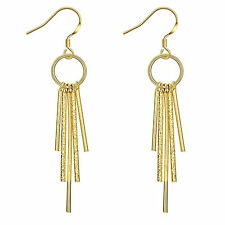 18ct 18K Yellow Gold Filled Textured Bar Long Dangle Drop Earrings NEW UK  -77