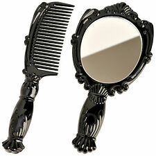 Vintage Antique Style Small Hand Held Vanity Comb Mirror Set Mini Pocket Purse