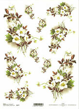 Rice Paper for Decoupage Scrapbooking, Bouquet of White Flowers ITD R677